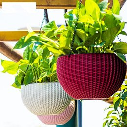 Wholesale Wholesale Pots Hanging Baskets - Hanging Flower Pot Chain Plastic Waven Planter Basket Garden Flexible Innovative Basket Flower Pot Home Decoration OOA5086