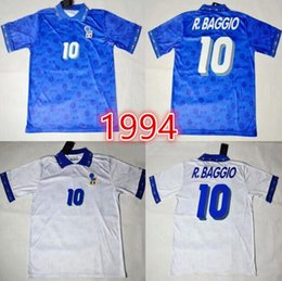 94 Italy Roberto Baggio Retro Soccer Jersey Football Shirts 1994 Home Blue  Away White Italia Classical Vintage Calcio MAGLIA eb4a917d4
