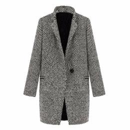 WEIXINBUY 2016 Vintage Femmes Automne Printemps À Long Manteau Parka Veste Tranchée Laine Mélange Revers Outwear ZT1 ? partir de fabricateur