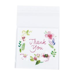Canada Merci fleur motif auto-adhésif bricolage biscuit sacs en plastique Festival fête cadeau emballage sac de scellement de stockage 100 pcs / sac 4 tailles Offre