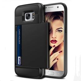 Affaire pour samsung note neo en Ligne-Porte-cartes de luxe Slider Wallet Case Titulaire de la carte pour Samsung Galaxy S8 Plus S5 Neo S6 S7 Edge Note5 Note 8 Shield Armor Cover