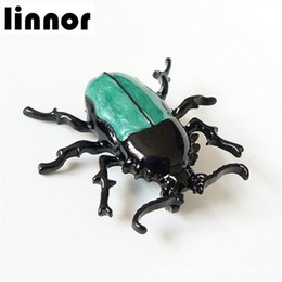 Wholesale Costume Jewellery Wholesalers - Linnor Punk Unique Blue Enamel Bug Beetle Insect Brooch Pin Costume Jewellery Unisex Accessorie Gift Cordao Broshe