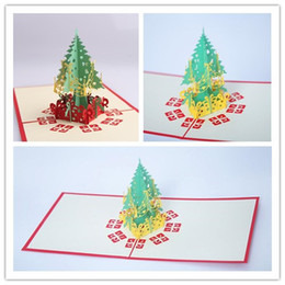 tarjetas de pop 3d Rebajas 2 Colores Tarjetas de felicitación de Navidad Hecho a mano 3D Pop Up Tarjeta de felicitación del árbol de Navidad Postales Regalo de Navidad Vintage Retro Tarjeta Postal Perforada