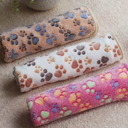 Wholesale Dog Paw Fleece Blanket - 3 Color Cute Floral Pet Sleep Warm Paw Print Dog Cat Puppy Fleece Soft Dog Blanket Pet Dog Beds Mat 40 X 60cmAEI-253