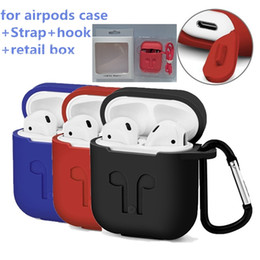 Wholesale Silicone Earphone Covers - For Apple Airpods Silicone Case Soft WaterProof Cover Protector with Dust Plug Anti-Lost Strap Sleeve Pouch hang hook For Air Pods Earphones