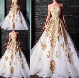 Rami Kadi 2020 Evening Dresses Sweetheart Beaded Crystal Accented White And Gold Applique Formal Gowns Formal Party Dress