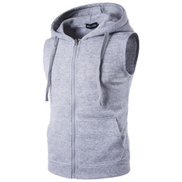 sleeveless zipper hoodie men Coupons - Men's fleece Men's Fashion Fleece Plain Fit Hooded Sleeveless Front Zipper Hoody Solid Vest hoodies