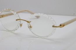 Vintage esculpido on-line-Frete grátis Hot Optical Oval Lens Eyewear Rimless Esculpido Aparar Lente T8200761 Óculos Vintage New Unisex Óculos de Plank Mix Liga