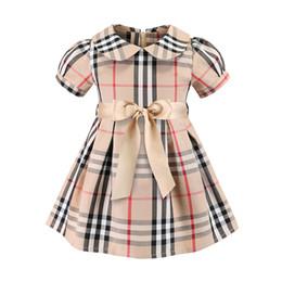 Mini-baumwoll-sommerkleider online-Sommer Mädchen Kleid mit Schleife Europäischen und Amerikanischen Kurzarm Klassisch Plaid 100% Baumwolle Kleid Baby Kleid C33