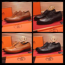 f6d533629f traje negro zapatos marrones Rebajas Lujo de cuero genuino de los hombres  zapatos Brogue marrón negro