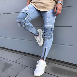 d015f3f409f New Skinny Jeans For Male Distressed Stretch Jeans men Blue Fashion Ripped  Skinny Pants Slim Fit Dropshipping Supply Tape Design