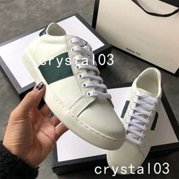 Wholesale cheap crystal studs - Womens Ace Embellished Leather Sneakers Watersnake-trimmed Crystal-Embellished Stud Nylon Snake Trainers Shoes Cheap 005 Luxury Brand