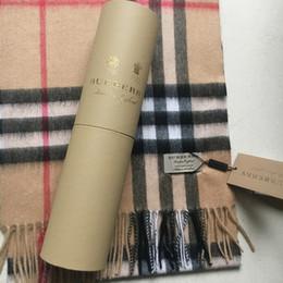 Con tondo Tube Box 2019 Inverno Unisex Top 100% Sciarpa di cachemire Classic Check Sciarpe Donna e Uomo Pashmina Designer Scialli e sciarpe da