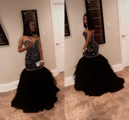 Wholesale girls party gowns - Sparkly Crystal Beading Mermaid Prom Dresses 2018 Sweetheart Tulle Black Gold Evening Party Gowns African Black Girl