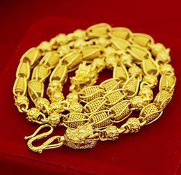 Wholesale 14k Solid Gold Charms - weighty Heavy!Transport bead 48g 24k dragon Real Yellow Solid Gold Men's Necklace Curb Chain 5mm Jewelry mint-mark lettering 100% real gold