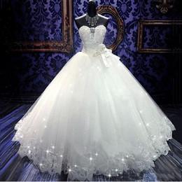 abiti di fasce di alta qualità Sconti Foto reali di alta qualità Bling Bling Crystal Wedding Dresses Back Bandage Tulle Appliques Piano lunghezza abito da ballo Gowns