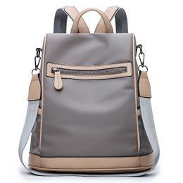 dual zipper UK - 2018Female Backpack Oxford Zipper Soft Handle Korean Fashion All Match Dual Purpose New Tide Canvas Cloth Women Backpack