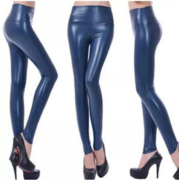 Wholesale Leggins Leather Size L - women leggings faux leather high quality slim leggings plus size High elasticity sexy pants leggins s-xl leather boots leggings