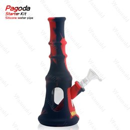 Wholesale Pagoda Glass - Smoke Bong FDA Silicone Glass Water Pipe Waxmaid Pagoda Factory Outlet Price Oil Rig With 14 mm Male Joint Bowl DHL Free Shipping