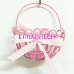 Wholesale wholesale metal hanging baskets - Portable Iron Art Makeup Organizer Storage Basket Pink Metal Bowknot Desktop Flowers Storage Rack Hanging Wall QW7649