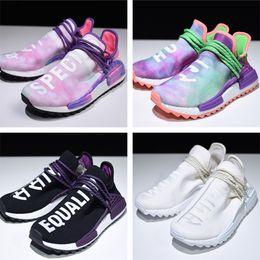 Wholesale festival blue - Pharrell Hu Trail Holi Human Race Shoes Pink Glow AC7362 Festival Blank Canvas Pack Hiking Sneaker Equality Chalk Cora Real Boosts