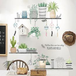 Wholesale tile mural stickers - Creative Pot Plant Wall Stickers DIY Art Mural Wall Stickers Home Decor Living Room Bedroom House Sticker