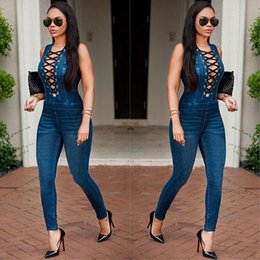 Wholesale Jumpsuit Romper Fashion Full - Fashion Casual Deep V Neck Women Denim Jumpsuit Sleeveless Top Long Skinny Pants Ladies Romper Overall