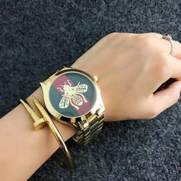 Wholesale Bee Girls - Fashion Brand Women's Girl bee honeybee metal steel band quartz wrist watch GU24