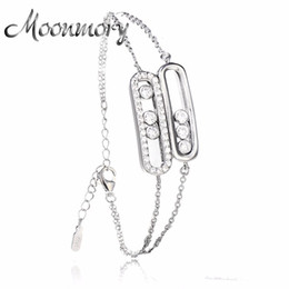 Wholesale Movable Plate - Moonmory Franch Style 925 Sterling Silver Bracelet With Movable Stone CZ For Women Silver Romantic Wedding Bracelet Jewelry