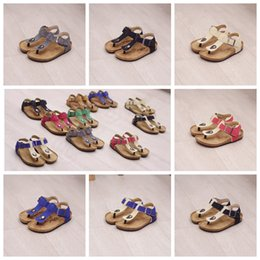 Wholesale casual sandles - Kids Summer Cork Sandles Flip-flops Sandals Beach Antiskid Slippers Kids Shoe PU Flip-flops Casual Cool Sandalias 10 colors AAA494