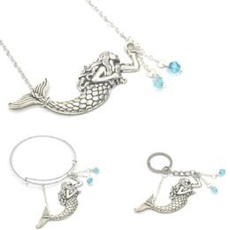 Wholesale jewellery silver bracelets - 12pcs lot Mermaid Charm Necklace Ocean Jewellery Silver Mermaid Collar Seaside Necklace bracelet keyring
