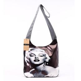 Wholesale marilyn monroe canvas prints - Bag Pu Leather Cotton Patchwork Bag Marilyn Monroe Print Sling Chest Bag