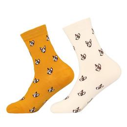 Giapponese calzini cartoni animati online-Novità Calzini Bulldog Cotton Crew Socks Giapponese Kawaii Donna Uomo Pet Dog Puppy Cartoon Casual Long Sock Winter