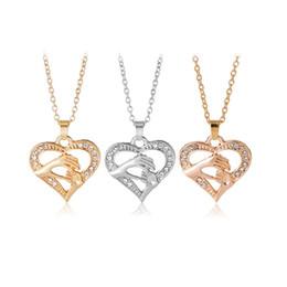 Dia dia dos namorados on-line-Amor Colares De Prata / Ouro Rosa cor de ouro Coração Pingente Mulheres Jóias De Luxo Dia Dos Namorados Dia Dos Namorados Colares Do Coração Do Amor