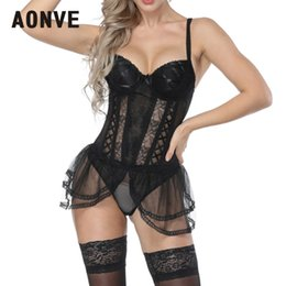 Корсет нижнего белья онлайн-AONVE Women Steampunk Corset Sexy Corselet Lace Sexy Mesh Corset Underwear Lingerie Tops Backless Cosplay Wear Party