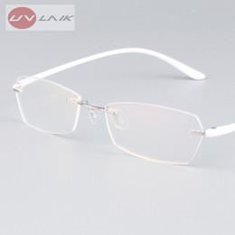 8d75e6306b5d3 UVLINK Clássico Mens Plástico Titânio Sem Aro Armações de Óculos Para Miopia  Quadro Óptico Ultra-leve Sem Moldura de Óculos acessível quadros de óculos  ...