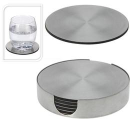 Canada Enipate Ensemble de 6 sous-verres ronds en acier inoxydable avec support de table isolante en métal pour support cheap steel round table Offre