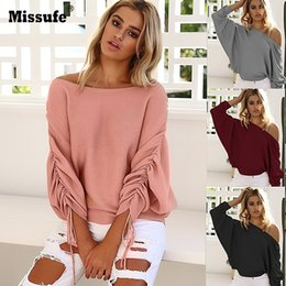 Wholesale Women Loose Fitting Sweaters - Missufe 2017 Autumn Winter Sweater For Women Casual Off Shoulder Sexy Sweaters Beam Sleeve Jumpers Pullover Loose Fit Tops