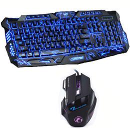 Poder rojo online-Rojo / Púrpura / Azul Retroiluminación LED Pro Gaming Keyboard M200 USB con cable Powered Full N-Key 7 botones 5500 DPI Mouse Computer periférico