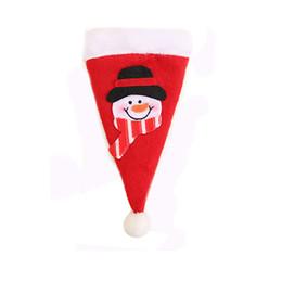 Wholesale Decorative Knives - Wholesale 18*10cm Snowman Santa Claus Christmas Decorative Hat Tableware Knife Fork Set Storage Tool Festive