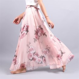 Wholesale Flare Maxi Skirt - 2018 Summer Chiffon Skirt Vintage Bohemia Chiffon Floral Printed Women Boho Floor-Length Long Maxi Beach Party Loose Flare Skirt