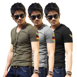 Wholesale military tees - 2018 Hot Sale T-shirt Army Military Slim Fit Special Forces Shirts New Arrival Mens Casual V Neck Tee Slim Fit Tops Short Sleeve T-shirts