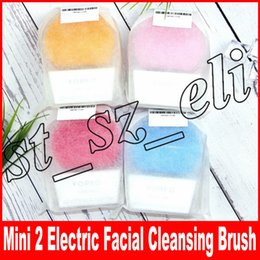 Wholesale mini facial - Mini 2 Electric Facial Cleansing Brush Silicone Cleanser Vibrate Massage Machine Pore Clean Makeup Brush Face Skin Care Spa Massager