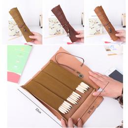 Wholesale Pirates Makeup - Leather Pen Organizer Bag - Retro Vintage Pirate Treasure Map Pencil Pen Storage Case Bag - Roll Up Makeup Pen Box