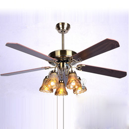 Glass ceiling fan coupons promo codes deals 2018 dhgate coupon luxury european vintage 52 ceiling fan lamp with 5 paddles and 5 glass lamps 3 aloadofball Images