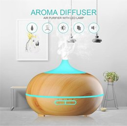 Wholesale electric aroma air humidifier - 300ml Aroma Essential Oil Diffuser Ultrasonic Air Humidifier with Wood Grain Electric LED Lights Aroma Diffuser