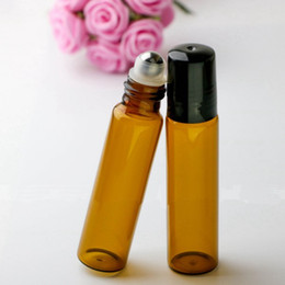 organic glasses Promo Codes - 10ML Glass Amber Essential Oils Roller Bottles Refillable 10G Roll On Perfume Aromatherapy Organic Beauty Bottles with Stainless Stell Ball