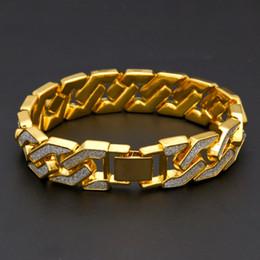 Glitzer-manschetten-armband online-Curb kubanischen Armband für Männer Gold Silber Hip Hop Strass CZ Rapper Armband Schmuck Punk geometrische Glitter Manschette Armreif Kette
