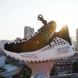 Wholesale Customized Shoes - High-end Human Race Pharrell Williams Hu NMD Runner Customized Trail Shoes Personalized Doodles CC OTHERS FIRST lettering Women's Rights