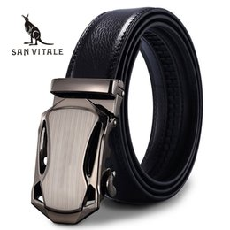 Wholesale Car Brand Belt Buckles - SAN VITALE Belts Men Luxury Famous Brand Designer High Quality Genuine Leather Straps Car Automatic Buckle Belt Ceinture Homme